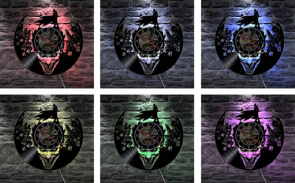 Relojes discos de vinilo Batman - Joker LED